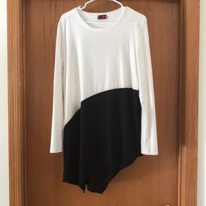 Asymmetrical white and black top